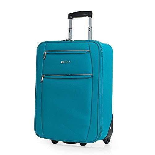 ITACA - Maleta Cabina de Viaje 2 Ruedas Trolley 55 cm de poliéster eva. Equipaje de Mano. pequeña semirígida cómoda y Ligera. Blanda. Calidad t71950, Color Turquesa