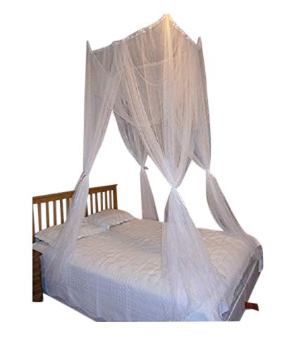 OctoRose  White 4 Poster Bed Canopy Functional Mosquito Insect Netting with Canopy Pole Can Fit Crib, Twin, Twin/full Bunk Bed, Full, Queen, King and Cal King Bed (Suaretop/Crib)