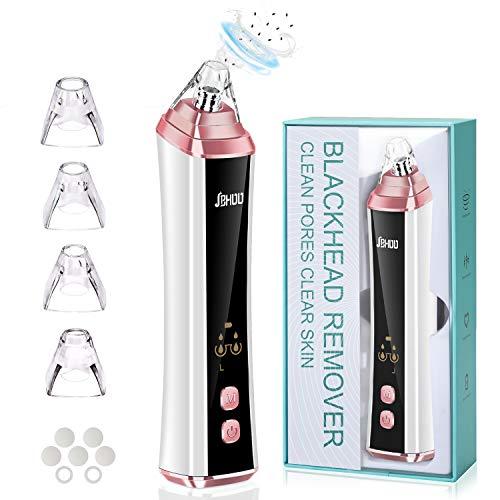 Limpiador de Poros JBHOO Extractor de Puntos Negros y Limpiador de Poros Pantalla LED USB Recargable 3 Modos 4 Sondas de Succión Reemplazables para Acné de Espinillas para Todas Las Pieles