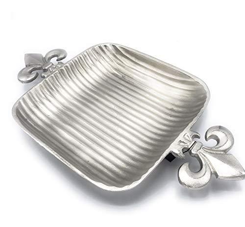 Colmore Schale Lilien 52x29cm Servierschale Alu gehämmert Tablett Silber Deko