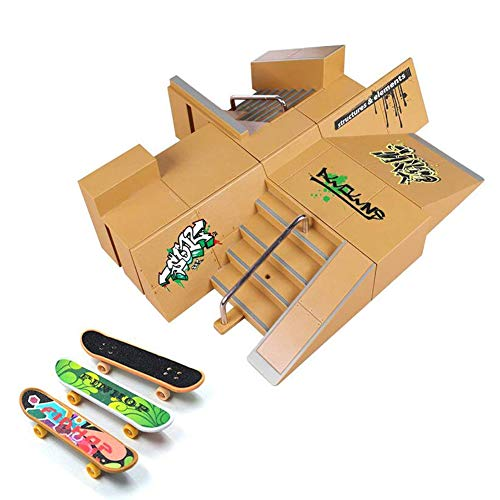 Skate Park Kit, Hometall 8PCS Skate Park Kit Ramp Parts for Finger Skateboard Ultimate Parks Training Props (8PCS)