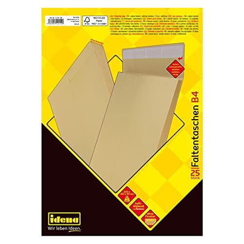 Idena 12154 - Faltentasche haftklebend ohne Fenster, DIN B4, 150 g/m², 4 cm Boden, 25 Stück, 250 x 353 mm, natron-braun