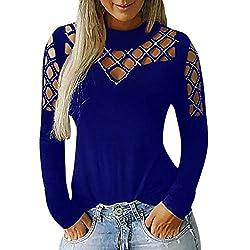 Blue Long Sleeve Hollow Rhinestone Halter Round Neck T-Shirt