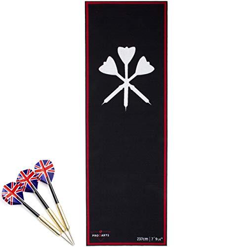 Dart Teppich Nylon Long mit Dart Oche als Abwurflinie für korrekten Abstand/Dartteppich für Steeldart mit offiziellem Spielabstand +3X Stahl Darts