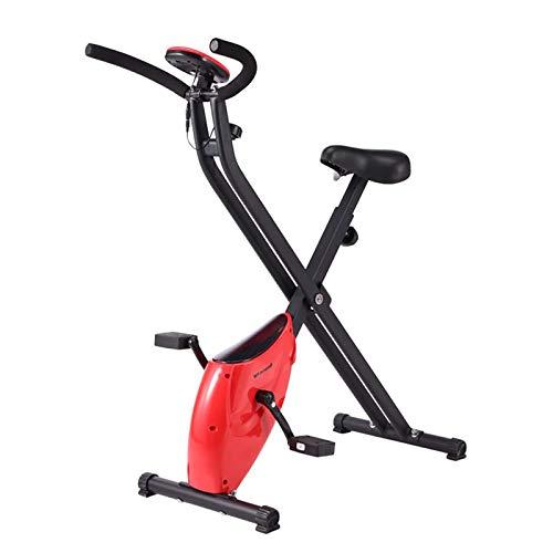 Tingeart Bicicleta Estática Plegable Ajustable Bicicleta Fitness Pantalla LCD, Bicicleta de Ejercicios Aeróbicos Sport para Interiores Entrenamiento Ejercicios Cardiovasculares