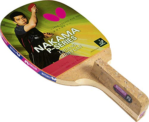 Butterfly Nakama P3 Japanese Penhold Table Tennis Racket | Nakama Series | Offers Tremendous Speed with Heavy Spin | Recommended for Advanced Level Players, Natural/red/Black, NAKP3
