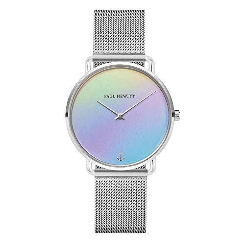 PAUL HEWITT Armbanduhr Damen Miss Ocean Holo - Damen Uhr (Silber), Damenuhr Edelstahlarmband in Silber, mehrfarbiges Holo-Ziffernblatt