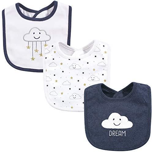 Hudson Baby Unisex Baby Cotton Bibs Navy Cloud One Size