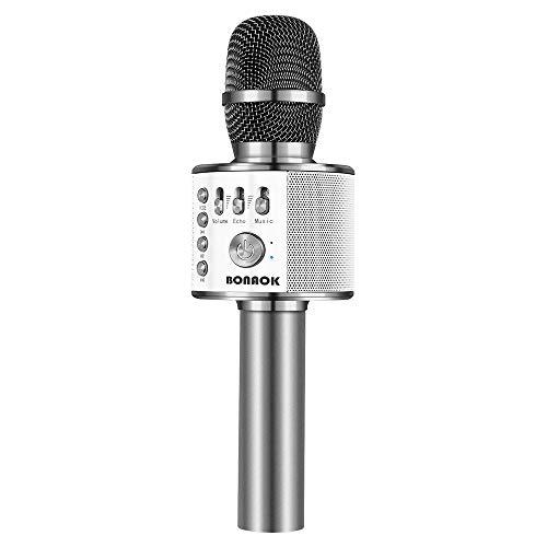 BONAOK Karaoke Microphone, Wireless Bluetooth Microphone, 3-in-1 Portable Mic karaoke Mic Birthday Gift Home Party Karaoke Machine for Android/iPhone/iPad PC (Q37 Space Gray)