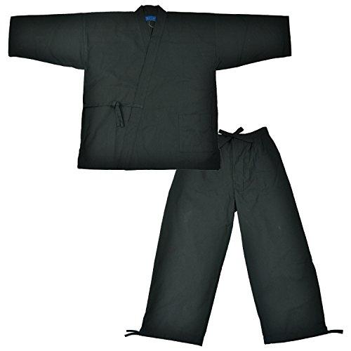 Edoten Herren Japan Kimono Baumwolle 100% Samue - Schwarz - Groß
