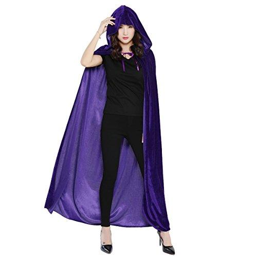 HUNTFORGOOD Largo Capa con Capucha de Terciopelo para Mujeres y Hombres Disfraz de Halloween Carnaval Vampiro Violeta