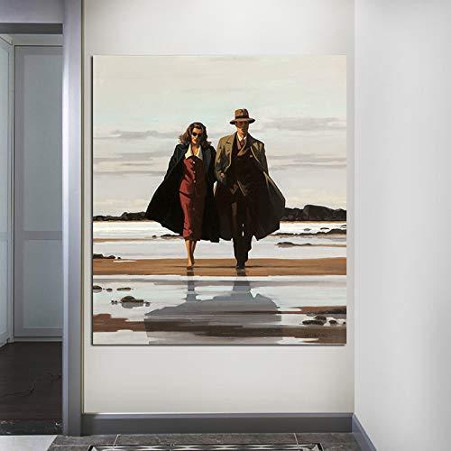 yhyxll Jack Vettriano Die Straße nach Nirgendwo Malerei Klassische Billy Boy Leinwand Malerei Bild Wandkunst Bilder Schlafzimmer Dekor B 60x90 cm