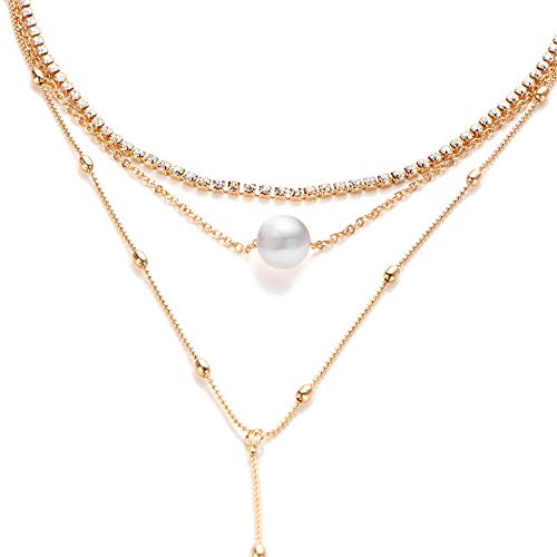 Zealmer Women's Gold Plated Layered Choker Necklace