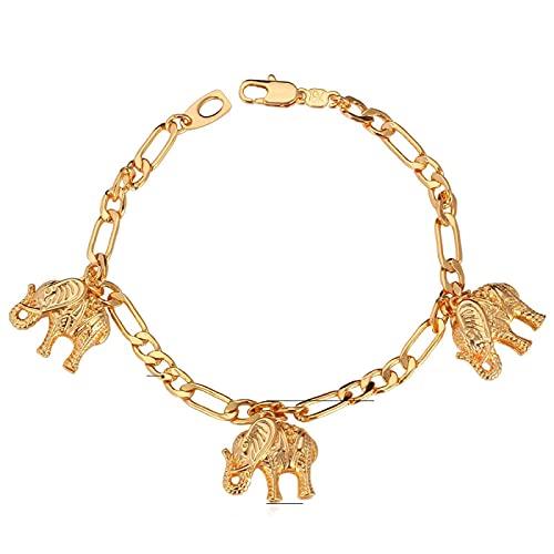 YITIANTIAN Preciosas Pulseras con dijes de Elefante para Mujer, Pulseras y brazaletes de Color Dorado a la Moda