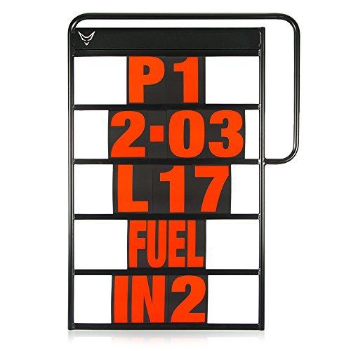 Pitboard, Boxentafel, Infotafel, Anzeigetafel, Rundenzeiten, Rennsport, Rennstrecke, Zeitnahme, Platzierung, klein, Set mit 37 Karten, rot, RACEFOXX