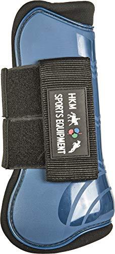 HKM 8566 Lot de 4 guêtres à Sauter et Capuchons de Protection doublés Pony COB Full Sang Plein/Sang Chaud Bleu foncé/Noir.
