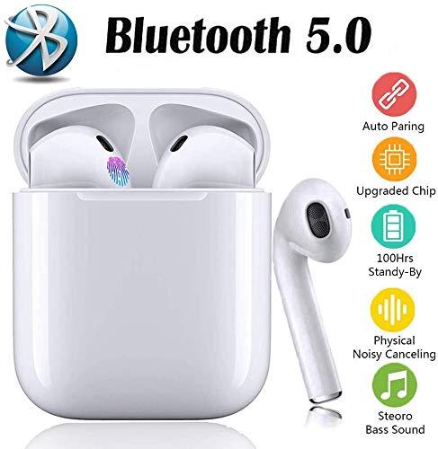 Auricolari Bluetooth 5.0 TWS i12 Cuffie wireless stereo 3D con controllo smart touch, doppi microfoni integrati con connessione pop-up anti-rumore IPX7 accoppiamento automatico-bianco