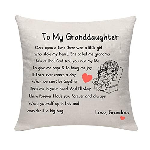 IVELECT Funda de almohada cuadrada de franela suave y cómoda para regalo de abuela, de un solo lado, para cumpleaños, funda de cojín decorativa
