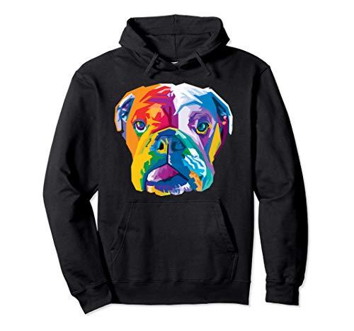 Colorido bulldog inglés Lindo perro geométrico estilo pop ar Sudadera con Capucha