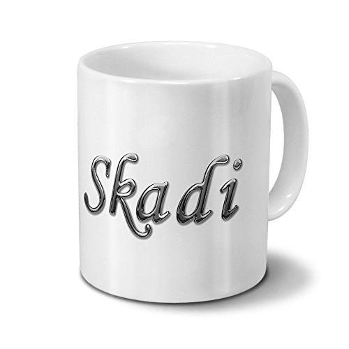 printplanet Tasse mit Namen Skadi - Motiv Chrom-Schriftzug - Namenstasse, Kaffeebecher, Mug, Becher, Kaffeetasse - Farbe Weiß