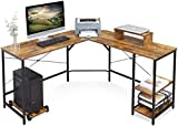 DEVAISE L Shaped Computer Desk, 56.7'' Modern Corner Computer Desks with CPU Stand Adjustable Shelves for Home Office Study Writing Gaming Wooden Table Workstation, Rustic Brown