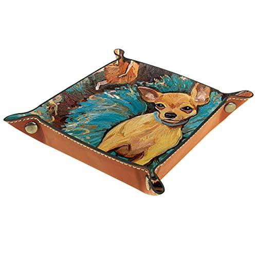 Bandeja de cuero,perro como chihuahua decorativo cachorro perro retrato bailarina bailarina ,Bandeja...