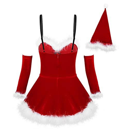 inlzdz Costume da Babbo Natale Donna Set Completi Intimi Due Pezzi Canotta con Piuma + Minigonna Vestito da Natalizio Cosplay Halloween Party Festa Clubwear Rosso B XL