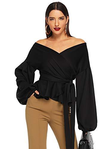 SheIn Women's Long Sleeve V Neck Ruffle Blouse Off Shoulder Tie Waist Wrap Tops Medium Black
