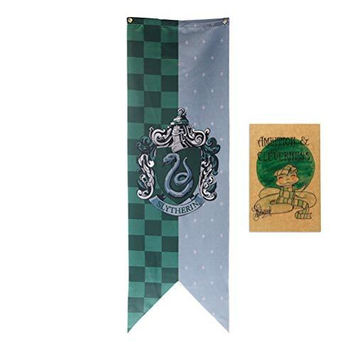 ASFAOK New College Drapeau Harry Potter bannière, [151X46CM], Affiche Serpentard pour Les garçons Cadeaux Filles Salle de Classe Décor