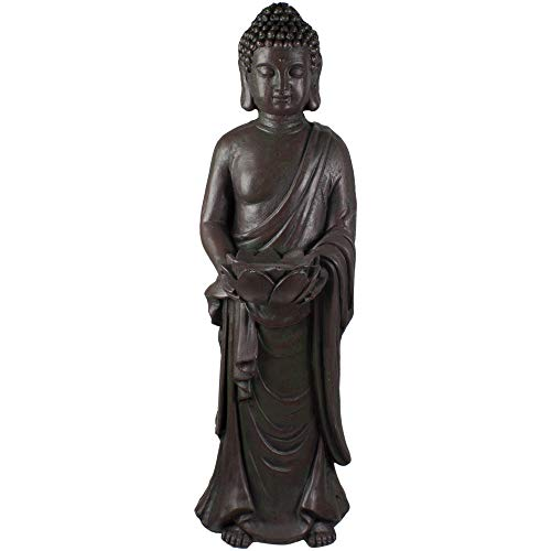 Northlight 19.5' Gray Standing Buddha with Lotus Outdoor Garden Statue