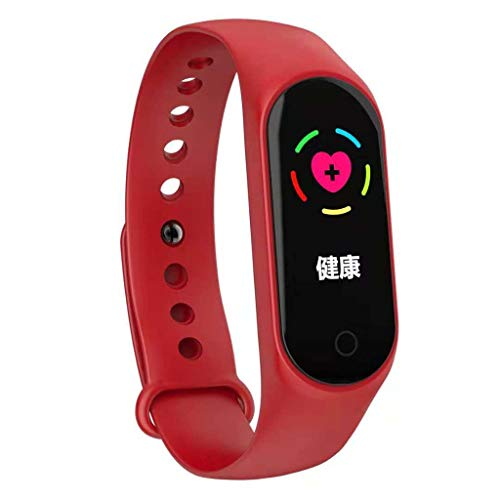 Fine M4 Smart Bracelet, Color Screen Fitness Tracker Blood Pressure Heart Rate Monitor Smart Band Wearable Smart Bracelet Sleep Monitor Step Counter Pedometer Watch for Men Women Kids (Red)
