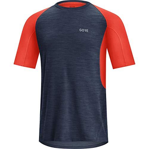 GORE WEAR R5 Camiseta Running de Manga Corta para Hombre, XXL, Azul Marino/Rojo Fuego