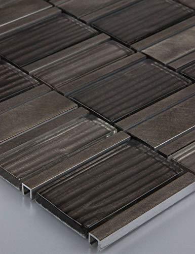 11alfombrillas 1m² azulejos mosaico azulejos Cristal de mosaico azulejos Cristal Aluminio Classic Marrón