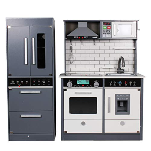 Calma Dragon Cocina de Madera Moderna TNWX-8434A, Grande, Cocinita de Juguete Infantíl, con Nevera, Congelador, Microondas, Fregadero, Horno y 8 Accesorios.