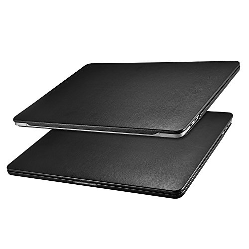 Macbook Pro 15 inch Case, Icarer Leather Ultra Slim Lightweight Protective Book Folio Case Cover Shell for Macbook Pro 15 Inch Retina Display Model: A1707/A1990 2016&2017&2018&2019 Released (Black)