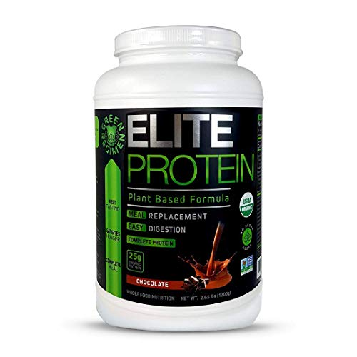 Elite Protein - Organic Plant Based Protein Powder, Chocolate, Pea and Hemp Protein, Muscle Recovery and Meal Replacement Protein Shake, USDA Organic, Non-GMO, Dairy-Free - Vegan - 30 Servings