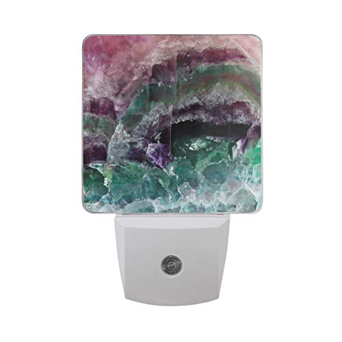 2 Pack Plug-in LED Night Light Lamp Colorful Fluorite Crystal Stone Pattern with Dusk to Dawn Sensor for Bedroom, Bathroom, Hallway, Stairways, 0.5W