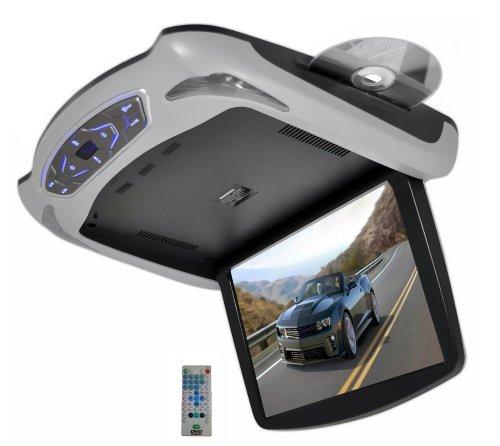 "Upgraded Premium 13.3"" Car Monitor - Flipdown Roof Console Car DVD, CD/MP3/USB/SD, TFT LCD, FM Transmitter, Dual LED Dome Lights, Car Entertainment System Multimedia, Black/Grey/Tan - Pyle PLRD145"