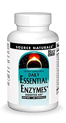Source Naturals Essential Enzymes 500mg Bio-Aligned Multiple Enzyme Supplement Herbal Defense for Digestion, Gas, Constipation & Bloating Relief - Supports A Strong Immune System - 60 Capsules