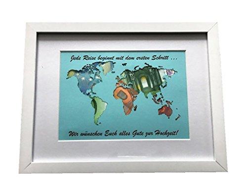 Geldgeschenk beschriftete Weltkarte MIT Bilderrahmen, Hochzeitsgeschenk, Geburtstag