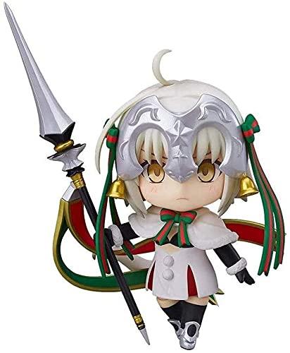 Fate/Grand Order Actiekarakter Anime-model, Jeanne dArc Q-versie Model Vervangbare gezichtsuitdrukking/Witte kerstjurk 10 cm Voor decoratie Collectie Geschenk