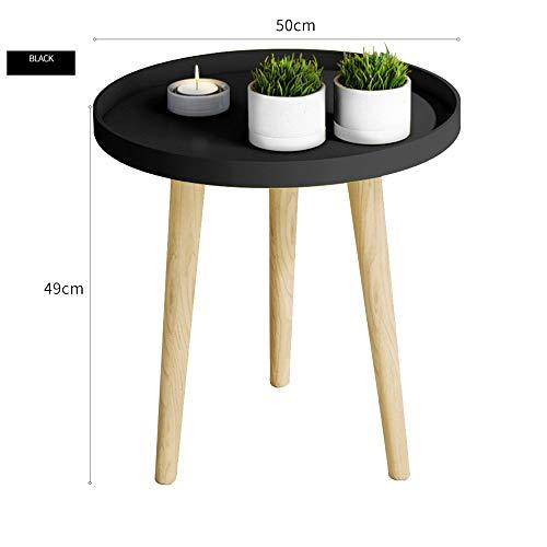 BinLZ-Table Kleiner Runder Tisch Couchtisch Nachttisch Ecktisch Sofa Beistelltisch Palettentisch Esstisch Optionale Farbe, Größe, Schwarz, 50 * 49 cm