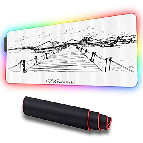 RGB LED Gaming Mouse Pad, Sketch Style Hawaii Dock Tiki Huts, Large Cool RGB Gaming Mouse Mat with Nylon Thread Stitched Edges & Smoothly Waterproof Non-Slip Rubber Base 31.5 X 11.8 Inch