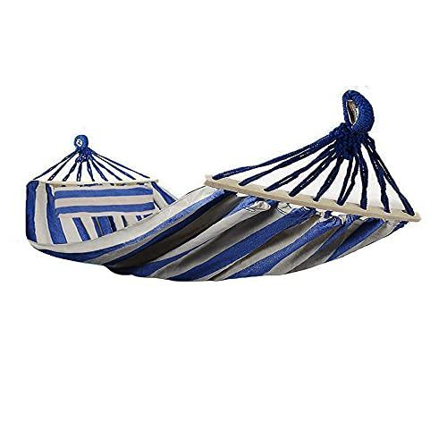HENG FENG Amaca in tela di cotone 220 * 150 cm con aste in legno da 80 cm e cuscino portatile per giardini interni ed esterni in campeggio Blu e bianco