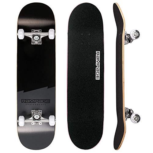 Rampage Skateboard Plain Third V2 Black Skateboard - Plain Black Skateboard for Kids, Boys, Girls and Teens Ideal Pro Skateboard for Beginners Learning Stunts