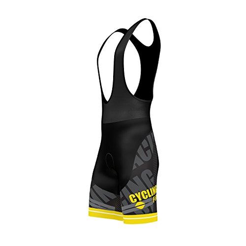 FDX Mens Pro Cycling Bib Shorts 3D Gel Padded Cycling Pants Sublimation cycling Shorts (Yellow, Large)