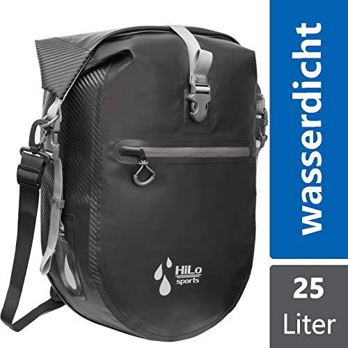 HiLo sports wasserdichte 25L Gepäckträgertasche Fahrrad - Verschweißte Fahrradtasche aus Planen Material - Radtasche Gepäckträger mit Innentasche - Rolltop Hinterradtasche (schwarz)
