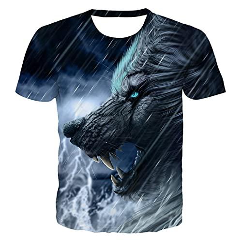 DREAMING-Summer Animal Wolf Head impresión Digital 3D Jersey de Cuello Redondo Casual Top Camisetas de Manga Corta para Hombres y Mujeres 3XL