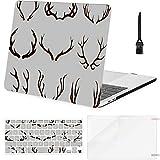 Macbook Air Funda de 13 Pulgadas Deer Antlers Set Ilustración Vectorial Macbook Air11 Funda Macbook Pro13 Pro15 Funda de plástico Cubierta del Teclado, Protector de Pantalla, Teclado Cepillo de limpi