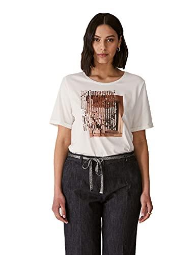 Elena Mirò : T-Shirt con Stampa e Ricamo Bianco S Donna